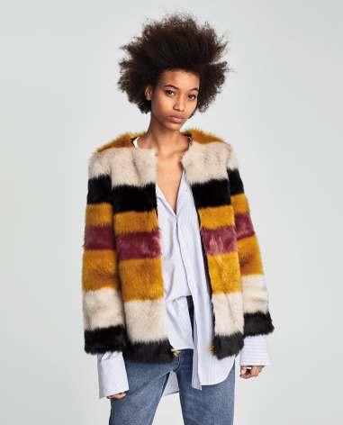 Zara Faux Fur Coat W/Multicolored Stripes